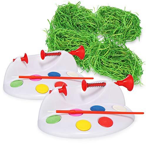 COM-FOUR® Juego de decoración de Pascua de 6 piezas, fácil de hacer usted mismo, máquina para pintar huevos y pasto de Pascua, ideal para nidos de Pascua (6 piezas - set de pintura - huevos de Pascua)