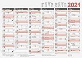 Brunnen 1070130 Tafelkalender A3 quer mit Tageszählung und Ferienterminen hochwertiger, kräftiger Karton 1 Seite 6 Monate zweifarbig