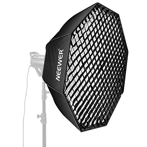 Neewer 60 inches/152 Centimeters Octagonal Softbox with Bowens Mount, Removable Internal&External Diffuser and Grid, Quick Folding Softbox Diffuser for Photography Speedlites Flash Monolight and More