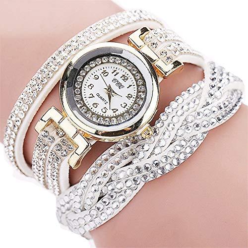 ROVNKD - Reloj analógico de pulsera para mujer, de cuarzo, con brillantes, varios colores Blanco Tallaúnica