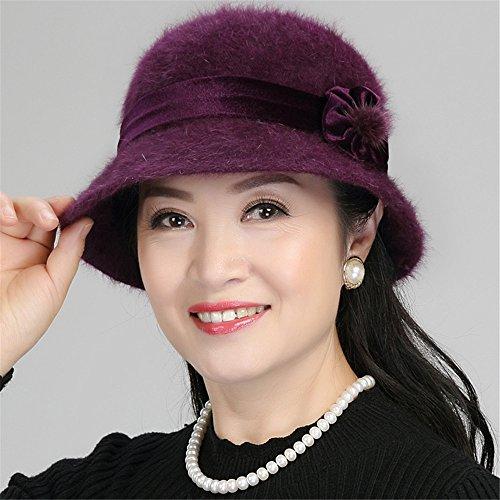 SAIBANGZI vriendin vriend Vrouwen in oude visser hoed vrouwelijke Winter Hoed Cap moeder warme hoed winter oude dame bloempotten hoed motorkap voor hoofd omtrek; 56-58cm