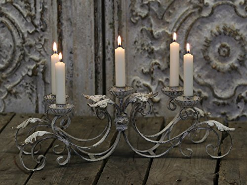 Chic Antique ° Franz. Candelabro ° metallo ° candeliere ° Shabby ° L 49cm