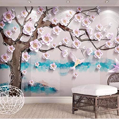 Kundenspezifische Tapete 3d Foto Wandgemälde Relief einfache Pfirsich neue chinesische Hintergrund Wand dekorative Malerei Tapete 140x100cm