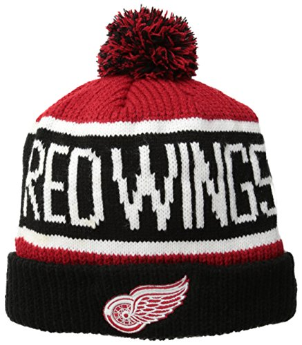 NHL Detroit Red Wings '47 Brand Calgary Cuff Knit Hat with Pom, Red, One Size