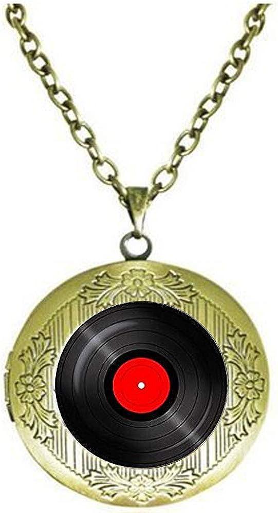 Vinyl Record Pendant. Gramophone Record Necklace. Vinyl Records Albums, Retro Locket Necklace Literary Jewelry