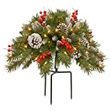 National Tree Company National Tree 18 Inch Frosted Urn Filler with Cones, Red Berries, Tripod Stake and 35 Warm White Battery Operated LED Lights with Timer (FRB-300-18U-B), 18'