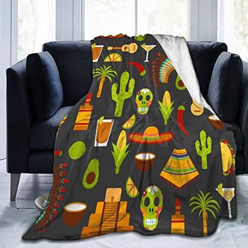 LISNIANY Manta de Franela Suave,Plano México Viajes Fondo Dibujos Animados Objetos México,Cama de Camping para sofá 204x153cm