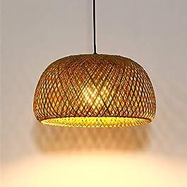 Maison De Campagne Suspension Lumineuse Rotin Bois Tissé Main Lampe Suspendue Ronde Abat-Jour En Bambou Lampe De Salle À…