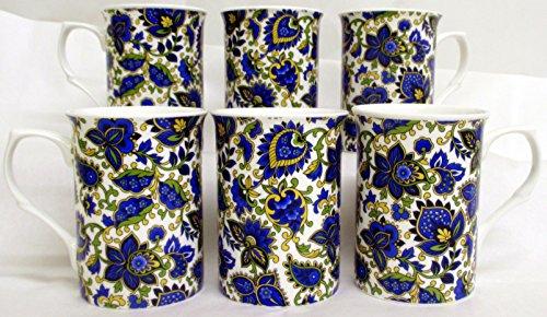 Motif cachemire Lot de 6 Mugs Tasses en porcelaine fine Motif cachemire Bleu décoré à la main au Royaume-Uni