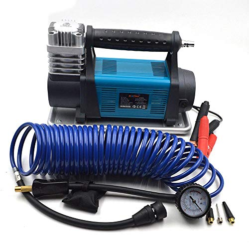 KATSU Heavy Duty 4WD Car Tyre Pump Inflator Portable Air Compressor 12V 45A 150PSI 540W Air Flow 100L/Min + 3M Electric Cable + 5M Flexible Air Hose + 3 Extra Nozzle Adapters + Storage Bag
