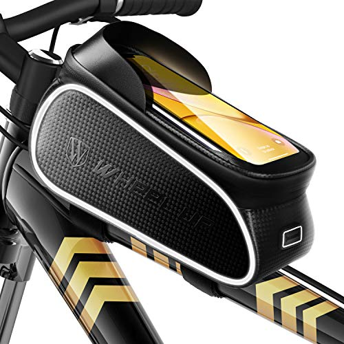 Fahrrad Rahmentasche Wasserdicht Lenkertasche Oberrohrtasche Touchscreen handyhalterung mit Kopfhörerloch Reflektierend für Smartphone unter 6,7 Zoll