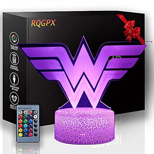 3D lámpara visual Wonder Woman escritorio decoración juguetes para niños, 7 años de edad niño regalos, regalo niño edad 7 6 5 4 3