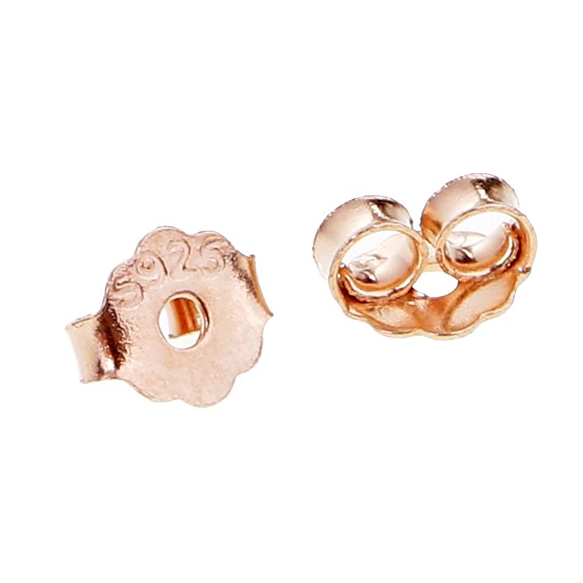 10 Pairs 925 Silver Earring Backs Earring Studs Jewelry Making Findings(Rose gold)