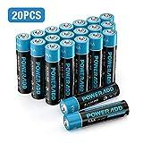 Poweradd Pilas Alcalinas AAA Baterías LR03 de 10 Años Larga Duración para Linternas, Relojes, Mandos a Distancia, Juguetes-20 Unidades de 1.5V