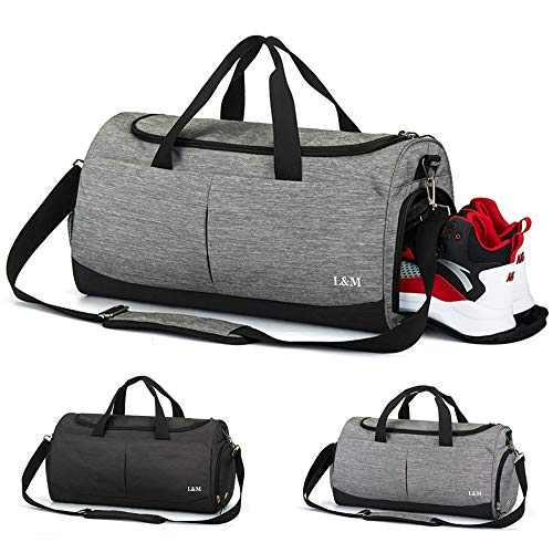 Sports Gym Duffel Bag, Vlikeze 35L Foldable Travel Duffel Bag Water Resistant Sports Holdall Weekend Yoga Duffel Bag with Shoes Compartment & Wet Pocket Travel Luggage Bag for Man and Women, Grey