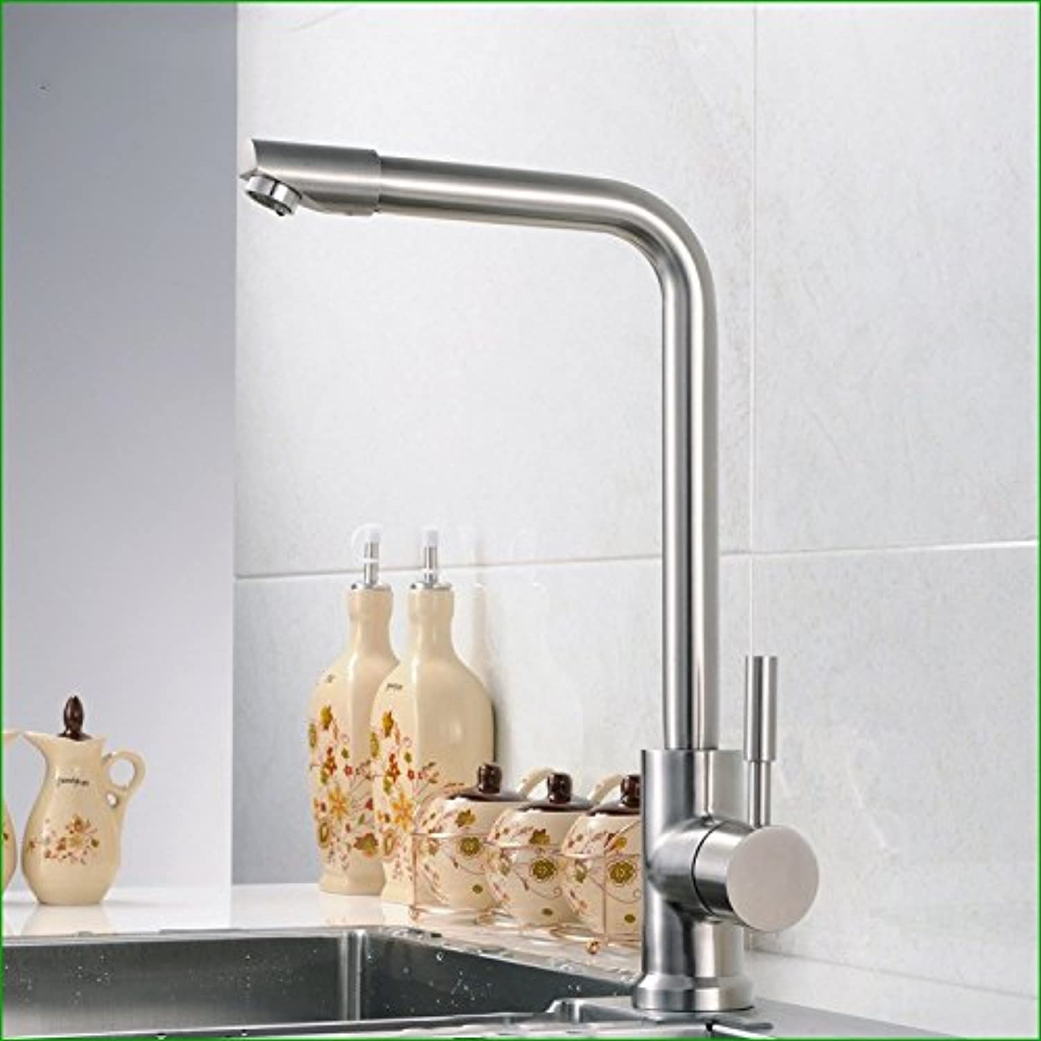 Commercial Single Lever Pull Down Kitchen Sink Faucet Brass Constructed Polished Stainless Steel Kitchen Faucet Sink Faucet Hot and Cold Sink Sink Faucet redatable Faucet