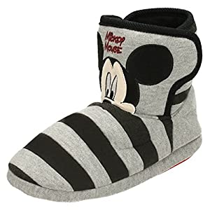 Disney Boys Slippers Mickey Mouse - Black/Grey Textile - UK Size 12 - EU Size 30 - US Size 12.5