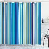 ABAKUHAUS Blau Duschvorhang, Vertikale Streifen Retro Kunst, Digital auf Stoff Bedruckt inkl.12 Haken Farbfest Wasser Bakterie Resistent, 175 x 180 cm, Senf Blau Weiß
