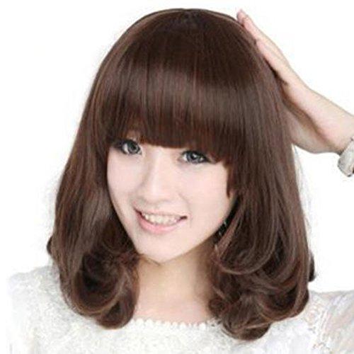 bluelans® Lady perruque intégrale 38,1 cm bouclés Marron perruque cheveux couleur naturelle robe quotidien