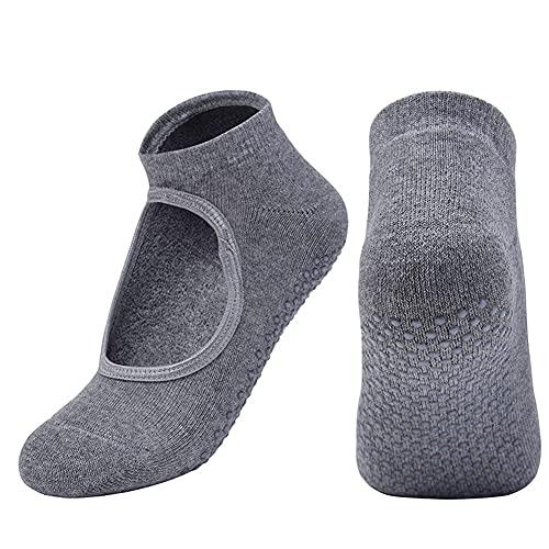 FDSVCSXV 3 Pares de Calcetines de Yoga para Mujeres Calcetines sin Deslizamiento amortiguados para Yoga, Pilates, Ballet, Fitness,Gris,One Size