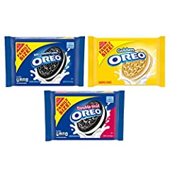 Three family size cookies pack including 1 OREO Original, 1 OREO Double Stuf and 1 OREO Golden Cookies OREO Golden vanilla sandwich cookies, OREO Double Stuf chocolate cookies and OREO Original cookies for a variety of snack choices Sandwich cookies ...