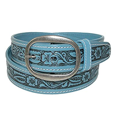 CTM Leather Western Embossed Belt with Removable Buckle, 36, Light Blue