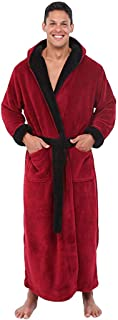 F_Gotal Men's Big and Tall Full Length Long Bathrobe House Coat Pajamas Lengthened Coralline Plush Shawl Bathrobe Robe
