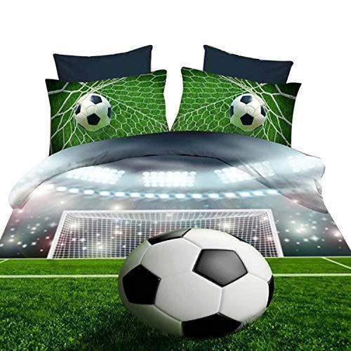 ENJOHOS Green 3D Soccer Bedding Twin 4 Piece Microfiber Foot Ball...