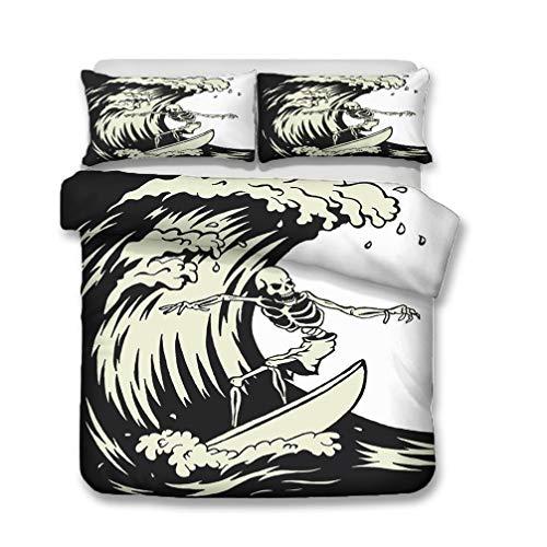 WENYA Duvet Cover and Pillowcase Interesting 3D Gothic Skull Skeleton Bedding set Black Creamy-White Surf Microfiber Child Boy Teens (Style 4, Single 135x200 cm)