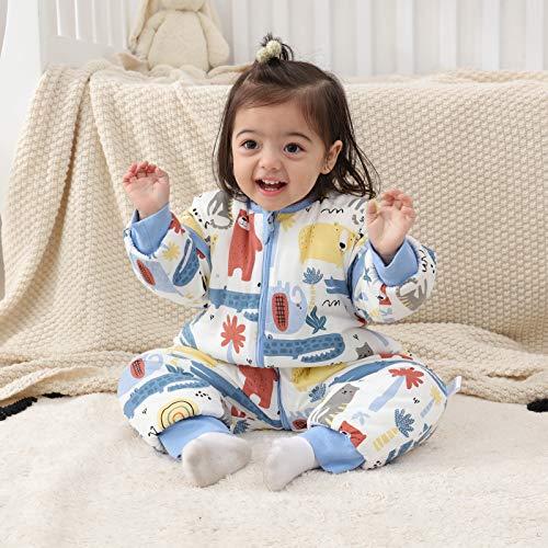 Baby Schlafsack mit Beinen Warm gefüttert winter kinder schlafsack abnehmbaren Ärmeln,Junge Mädchen Unisex Schlafanzug (Red Bear,18-36 Monate(baby height 85-95cm)) - 4