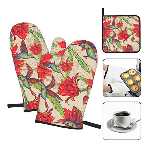 RETRUA Juego de 3 manoplas de horno y soportes para ollas, color rojo y verde, guantes de cocina resistentes al calor, para parrilla, cocina, hornear, barbacoa, microondas