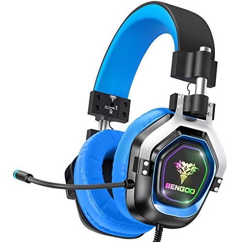 BENGOO G9200 Gaming Headset Headphones for Xbox One PS4 PC Controller, 4 Speaker Drivers Over Ear Headphones with Microphone, LED Light, Bass Surround Soft Memory Earmuffs for Sony PSP Nintendo 64 PS5