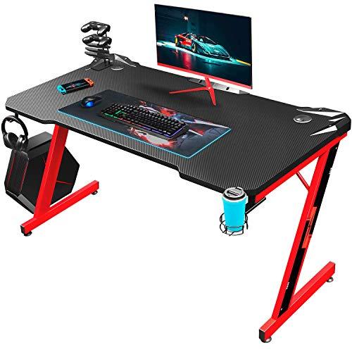 Homall Gaming Tisch Gaming Schreibtisch Gamer Computertisch Ergonomischer PC Tisch 110 cm Z-Frame mit Controller Ständer, Becherhalter, Kopfhörer Haken, Rot
