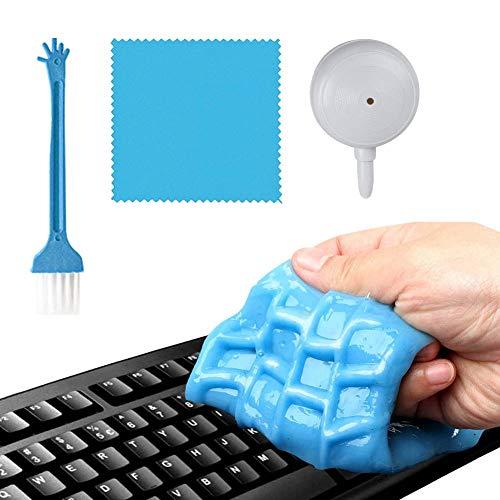 Tastatur Reinigungsgel Blau,Super Clean Gel Tastatursauger für PC Laptop Tastaturen, Auto,Kameras, Drucker, Taschenrechner, mit 2 Tastatur Reinigung (Gelb), Mikrofasertücher und Reinigungsstäbchen