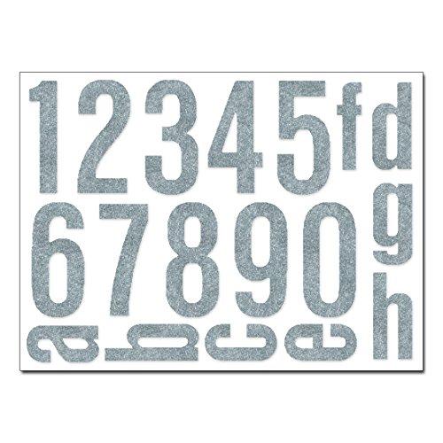 Hausnummern Aufkleber - Set mit Nummern, Ziffern & Buchstaben zum Aufkleben (reflektierend oder matt) (silbergrau-matt)