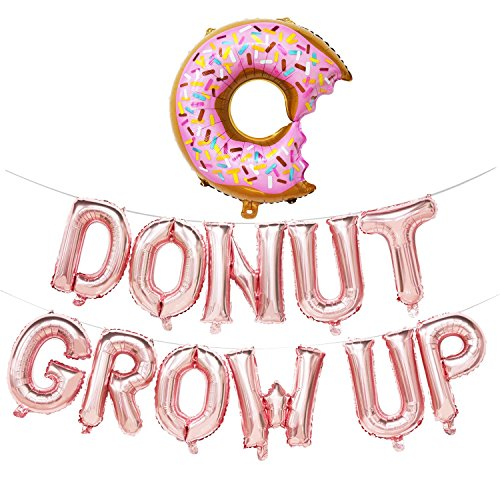 Donut Grow Up Balloons   Donut Grow Up Birthday Banner   Donut Birthday Party Decorations   Donut Theme Party Supplies   Donut Shape Balloons (Rose Gold)