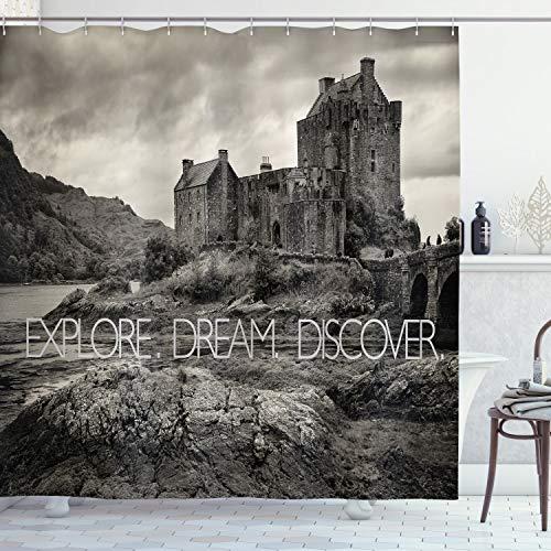 ABAKUHAUS Traum Duschvorhang, Eilean Donan Castle Schottland, mit 12 Ringe Set Wasserdicht Stielvoll Modern Farbfest & Schimmel Resistent, 175x200 cm, Dunkle Taupe & Pale Grau