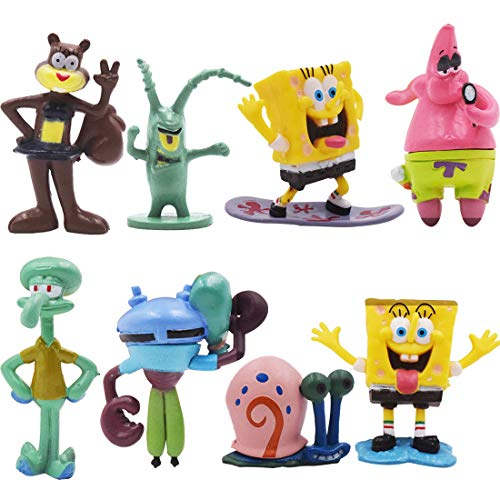 Mini Figuren Set - YUESEN 8 Stück SpongeBob Figuren Geburtstags Party liefert Cupcake SpongeBob Figuren Party Kuchen Dekoration Lieferungen Cake Topper