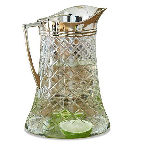 Loberon Krug Meloisey, Glas, Messing, H/Ø 24/16 cm, klar