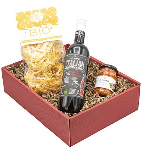 """Weinpräsent Geschenkset """"Amore Italiano"""" mit italienischen Spezialitäten: Italienischer Feinkost und Rotwein (13,5% vol.) Präsentkorb mit Pasta, (1 x 0.75 l)"""