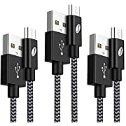 Micro USB Cable, J Jecent Android Charger Cable [3-Pack 1m/3.3ft] Nylon Braided High Speed/Sync Micro USB Charger Compatible with Samsung Galaxy S6/S7 Note, Nexus, Kindle, HTC, LG, Sony, PS4 and more