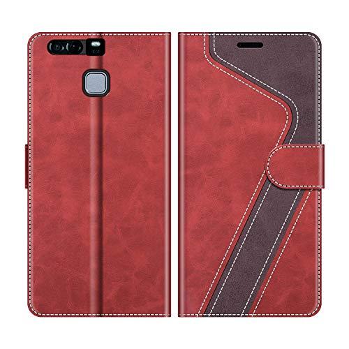 MOBESV Handyhülle für Huawei P9 Hülle Leder, Huawei P9 Klapphülle Handytasche Hülle für Huawei P9 Handy Hüllen, Modisch Rot