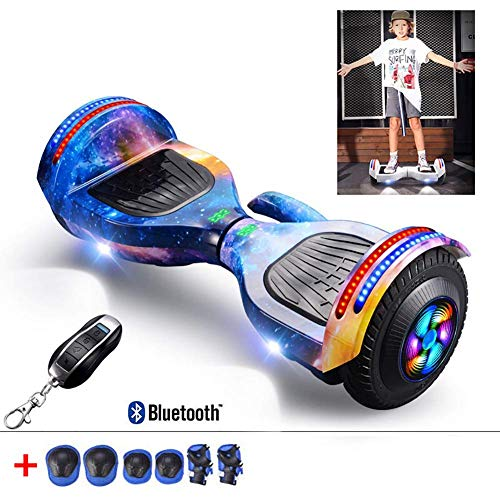 QX Scooter 8 inch Hoverboard Two Wheel Self Balancing Electric Scooter Added Portable Design with Bluetooth Speaker, Led Lights, Flashing Wheels, Best Gifts for Kids+ a Set of Protective Gear,Starry