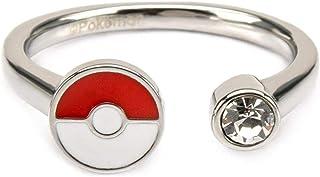 Pokemon 女式不锈钢精灵球,带透明宝石戒指
