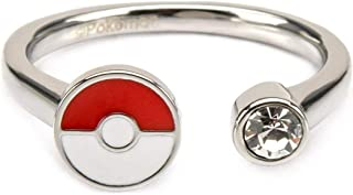 Pokemon Women's Stainless Steel Poke Ball with Clear Gem Ring