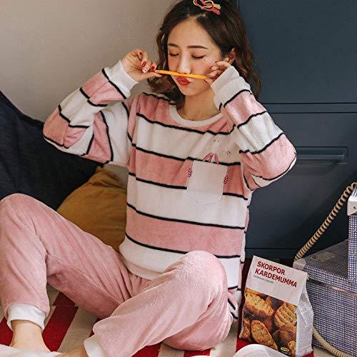 Pijamas Mujer Invierno, Conjuntos Pijama Conjunto De Pijamas De Franela Cálidos Gruesos De Invierno para Niñas, Conjunto De Pijamas De Rayas Blancas Y Rosas, Ropa De Hogar para Mujeres, Mediana