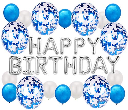 Soulstice © Happy Birthday Ballon, Geburtstagsdeko in Blau, Geburtstagsballon, Kindergeburtstag für Junge, Happy Birthday Girlande, Geburtstagsgirlande
