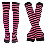 Bienvenu Women Stretch Striped Socks Knee High Stockings Long Arm Warmer Fingerless Mitten Gloves,Fuchsia