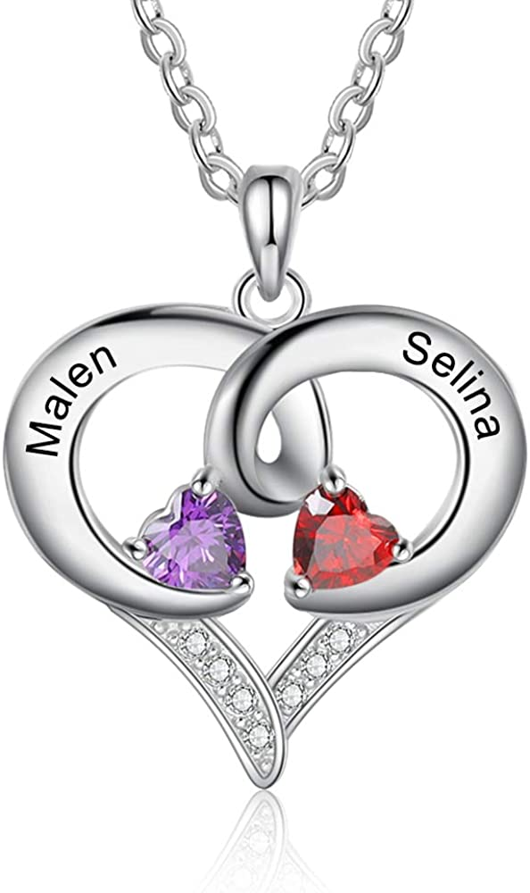 LanM Personalized 2 Max 66% OFF Names All stores are sold Necklace Births Heart Simulated with