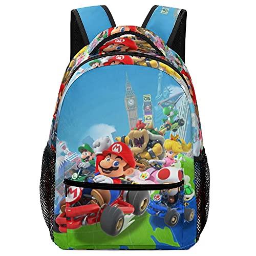 Cartoon Mario - Bolsas de escuela para niños, mochilas de alta capacidad para estudiantes de primaria y secundaria, ultraligeras y con múltiples compartimentos